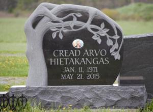 Arvo Jet Black Tree Headstone