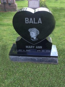 Bala Heart Grave stone witch lazer etching black