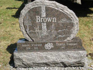 Brown Grave Stone Triple Stack Etching