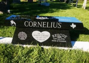 Cornelius black bench   grave stone