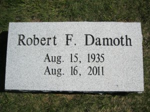 Damoth Gray Steel top Grass Marker foot stone