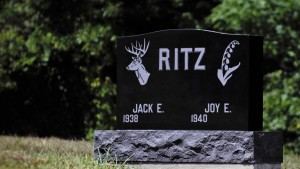 Ritz-Black-Grave-Stone-Witch-Buck and flower-Carving-